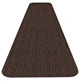House, Home and More Indoor Outdoor Double-Ribbed Carpet Runner with Skid-Resistant Rubber Backing - Bittersweet Brown - 3 Feet x 15 Feet