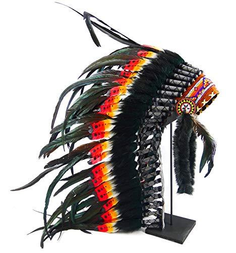 Coco Papaya Lange Indiase kapsel met veren, zwart, rood en geel en haarband met kleurrijke parels