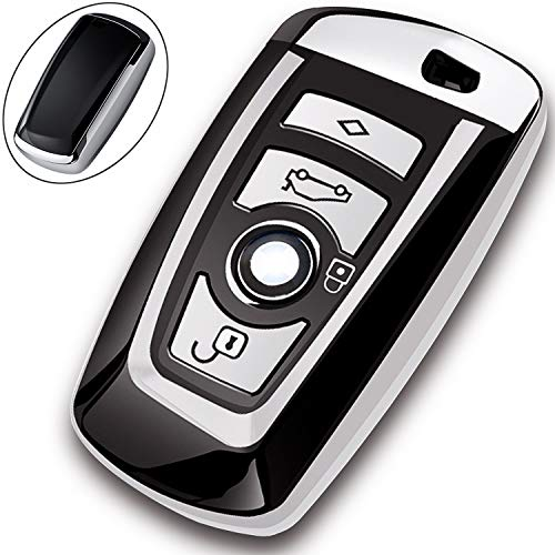 COMPONALL Key Fob Cover for BMW,?Key Fob Case for BMW 1 3 4 5 6 7 Series X3 X4 M5 M6 GT3 GT5 Remote Control Key Premium Soft TPU Anti-dust Full Protection Silver