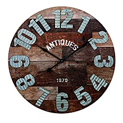 CC Home Furnishings 36.25 Rustic Antiques Multi-Toned Wood and Tin Wall Clock