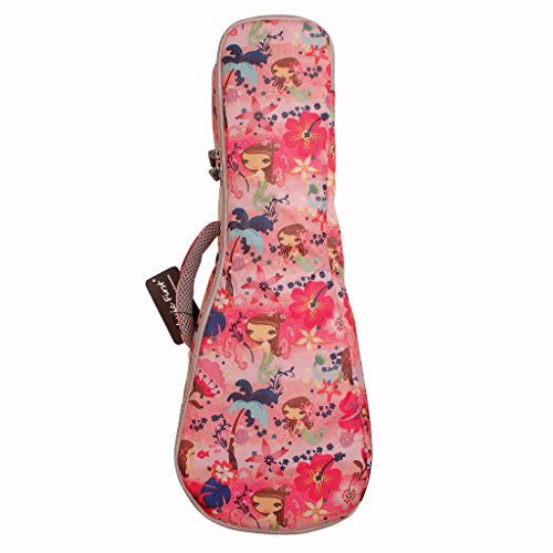 Funda para ukulele MUSIC FIRST®, color rosa, diseño de «La Sirenita»
