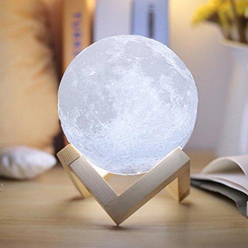 T-MIX Lampe de Lune, Night Light 3D Printing Moon Lampe Lunaire USB lumière Nuit, Touch Control luminosité Deux tonalité, diamètre 5,9 Pouce