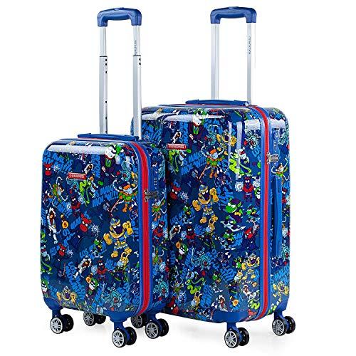 KUKUXUMUSU - Juego de Maletas de Viaje Rígidas Trolley 4 Ruedas 55/65 cm con Policarbonato. Cierre TSA. Cabina y Mediana 131200, Color Azul