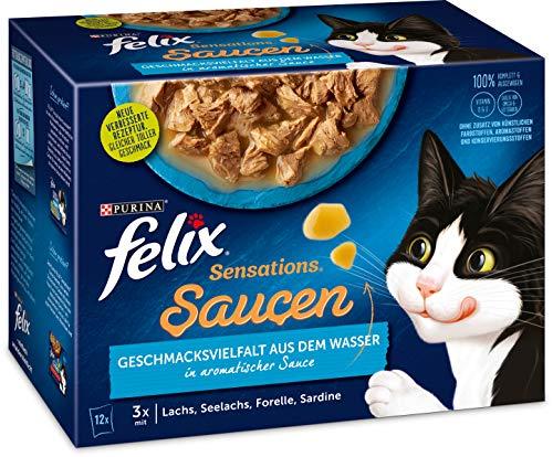 FELIX Katzennassfutter Sensations Saucen Geschmacksvielfalt aus dem Wasser, 6er Pack (6 x 12 x 85g)