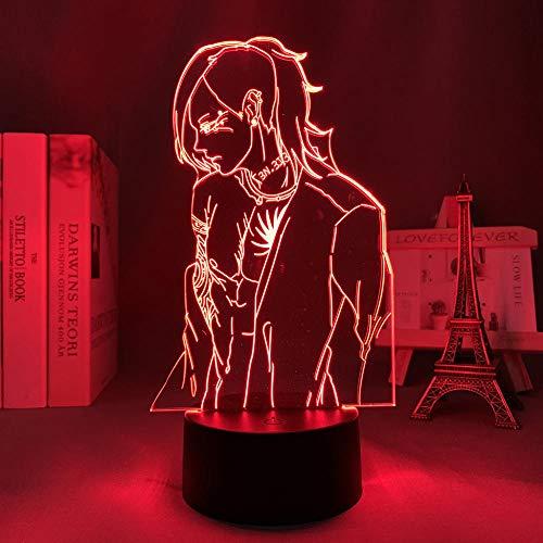 Lámpara de noche 3D con diseño de anime Tokyo Ghoul 3D de Uta LED para niños, dormitorio, juguete, Navidad, cumpleaños, lámpara de mesa, 7 colores táctiles