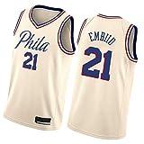 JIULOVE Embiid # 21 Camiseta de Baloncesto 76ers Fitness Chalt Sports Top, Adecuado para Adultos Beige 1-S