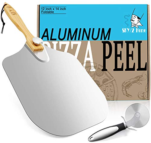 Aluminum Metal Pizza Peel With Foldable Wood Handle, Easy Storage Pizza Spatula 12 x 14-Inch Pizza Paddle for Baking Homemade Pizza Bread