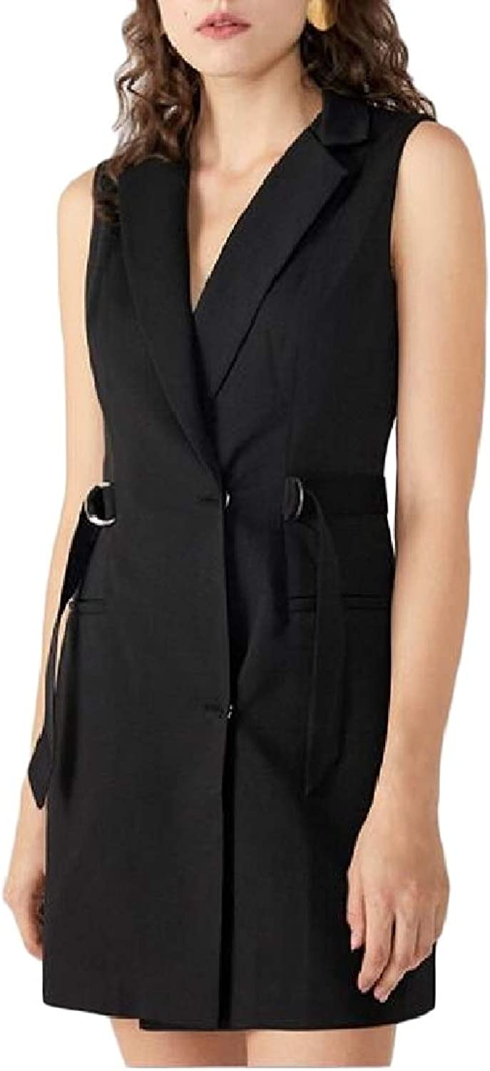 SweatwaterCA Women Classicfit Pure color Sleeveless Lapel Belted Dress