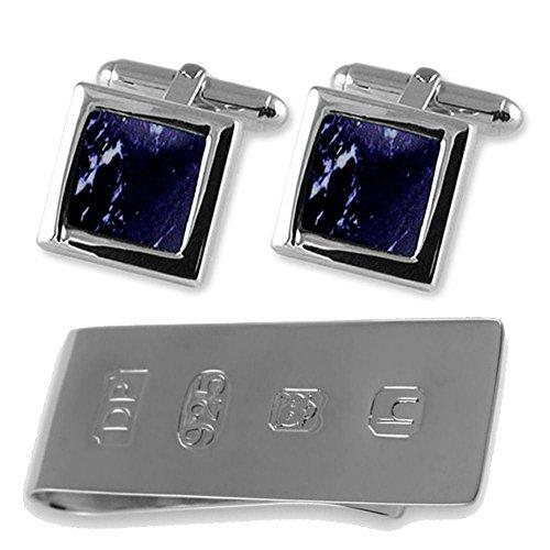 Select Gifts Sterling Silber Manschettenknöpfe Lapislazuli James Bond Geld Clip Box Set