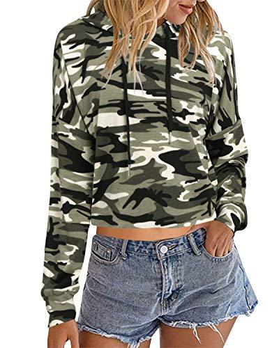 Auxo Mujer Sudaderas con Capucha Cortas Talla Grande Top Manga Larga Casual Camuflaje Hoodie Camiseta 02-Camuflaje S