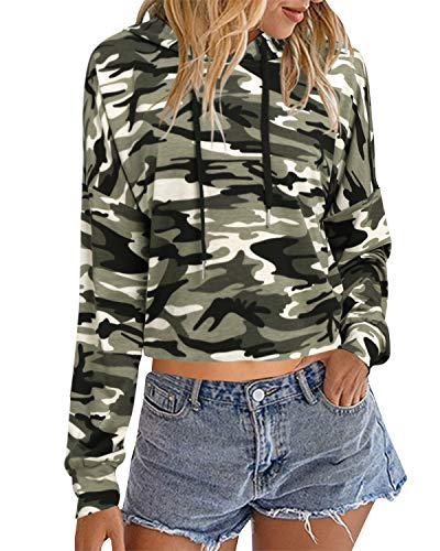 Auxo Mujer Sudaderas con Capucha Cortas Talla Grande Top Manga Larga Casual Camuflaje Hoodie Camiseta 02-Camuflaje M