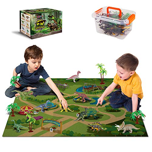 Dinosaur Toys - 12 Realistic Dinosaur Figures, Activity Kids Play Mat & Trees for Creating a Dino World Including T-Rex, Triceratops, etc, Perfect Dinosaur Gifts for Boy & Girl 3,4,5,6,7,8 Years Old (Toys For 4 Year Old With Down Syndrome)