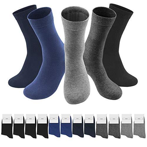 SmartQian 12 Paar Socken Herren Damen Baumwollsocken Schwarz für Business Komfort-Bund Unisex(gemischte Farben, 39-42)