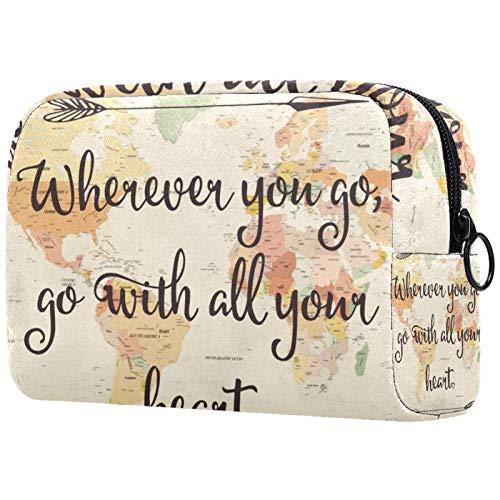Kosmetische Reisetasche, Make-up-Fall, Make-up-Tasche, Geburtstagsgeschenk, Jubiläumsgeschenk - Herz Weltkarte Pfeil Buchstabe Wort