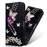 Yobby Hülle für Samsung Galaxy S8,Brieftasche PU Leder Bling Glitzer Schwarz Handyhülle,3D Bunt Strass Blumen Schmetterling Flip Case Magnetisch mit Kartenfach Stoßfeste Schutzhülle