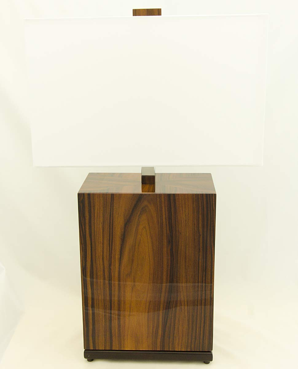 Special price for a limited time KAHL WOOD DECOR Rosewood 2 light Lamp with Linen favorite Chrome Shade Ac