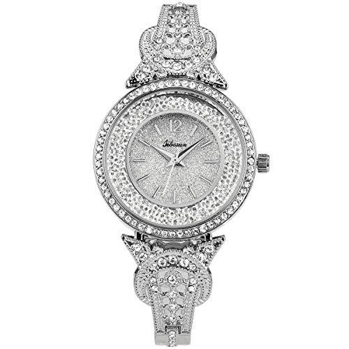 Ybzx Bluemeow Wrist Watch with Crystal Diamond Unique Bracelet Classic Romatic Case Stainless Steel Business Casual Elegant Quartz Watch for Women Ladies