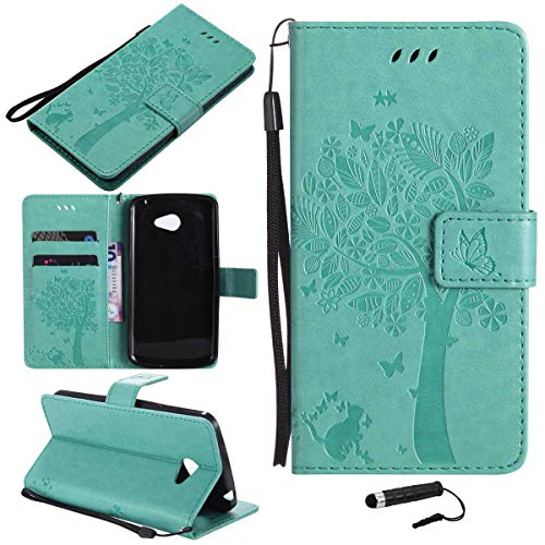 Sangrl Wallet Hülle Für LG K5 (2016), Mode PU-Leder Magnetisch Schliessen Schmetterling Handyhülle Mit Halterung Katze & Baum Geprägtes Design Hülle - Grün