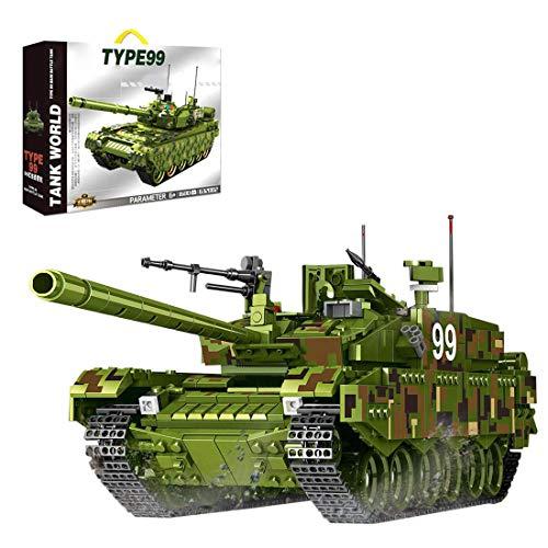 Modelo de tanque de bloque de construcción, tipo 99 tanque de batalla principal tanque militar conjunto de construcción, 1339 bloques de abrazadera, compatible con tecnología Lego (Originalverpackung)