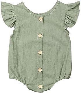 Gl/ücklicher K/äufer Baby M/ädchen Leinen Gurt Strampler Kleinkind /Ärmellos Overall Bodysuit Hosentr/äger Outfits