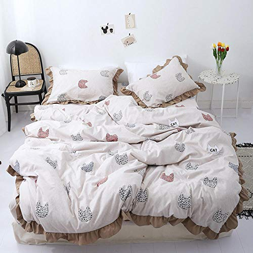 chuanglanja Bed Sheets Double Bed Set Huidverzorging lotus blad bed vierdelig dubbel bed dekbedovertrek wit kaki kitten