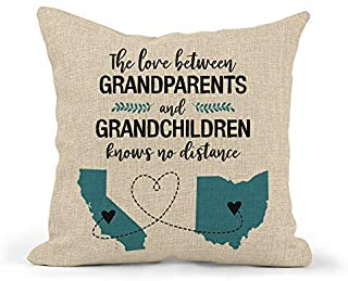 Personalized Long Distance Grandparents Pillow | Two State Grandparents & Grandchildren | Gift For Grandparents From Grand...