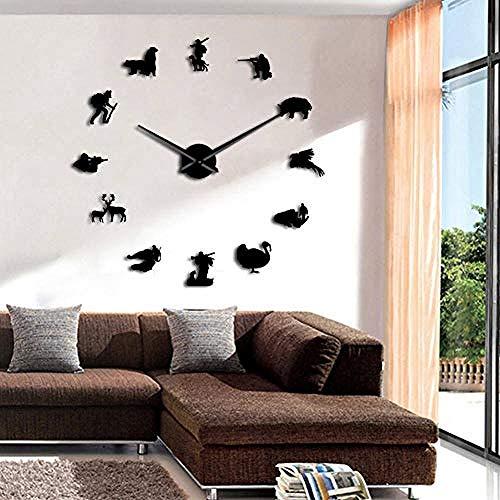 BBNNN Reloj de Pared Cazador Animales Salvajes Courser Ciervo Diseñador Reloj de Pared Gigante Caza Hobby Criatura Oso Jabalí Perfil Habitación Arte de la Pared Decoración Reloj 47 Pulgadas