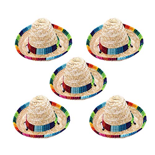 Geternal 5 Stück Mini mexikanische Sombrero-Hut, 16 cm, verstellbar, Cinco De Mayo Fiesta Strohhut für Party-Gastgeschenke, Dekoration, Kinder, Erwachsene, Haustiere