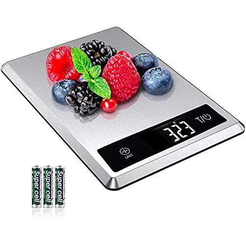 AIRMSEN Báscula de Cocina Digital, 5 KG 11 lbs Báscula de Alimentos de Acero Inoxidable, Alta Precisión & 5 Unidades Disponibles, Pantalla LCD y Baterías Incluidas