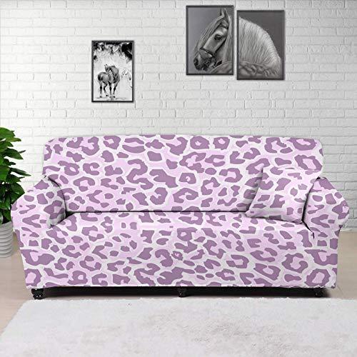 HUGS IDEA Funda de sofá impresa, diseño de leopardo, color rosa, funda elástica para sofá, protector de muebles, tela jacquard elástica, para perros, gatos, niños, para 2 cojines
