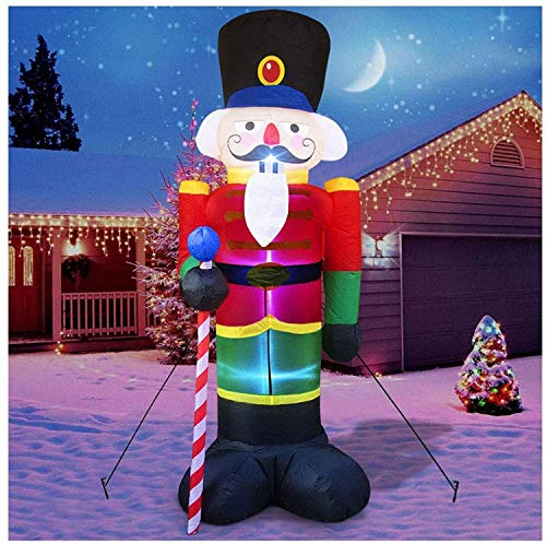 8 Feet Christmas Inflatable Nutcracker Soldier,Xmas Blow Up Lighted Yard Decoration with 3 LED Lights,Outdoor Garden Yard Holiday Party Decor