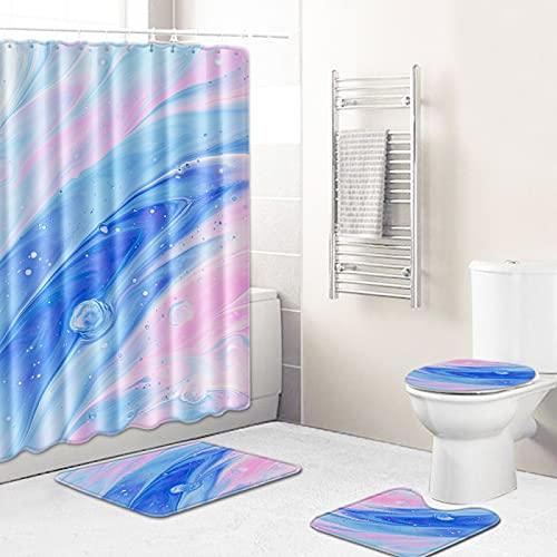 MMHJS Impresión De Textura Minimalista Moderna Baño Cortina De Ducha A Prueba De Agua Sala De Ducha Alfombrillas Antideslizantes Alfombrillas De Baño para Inodoro Combinación De 7 Piezas