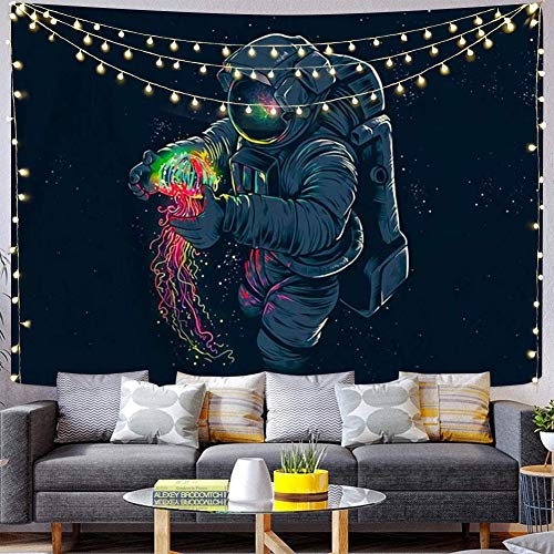 Space Tapestry Galaxy Tapestry Trippy Astronaut Tapestry Mens Guys Tapestry Fantasy Colorful Jellyfish Blacklight Psychedelic Boho Hippie Wall Hanging Spaceman Tapestries For Bedroom Cool Room Decor.