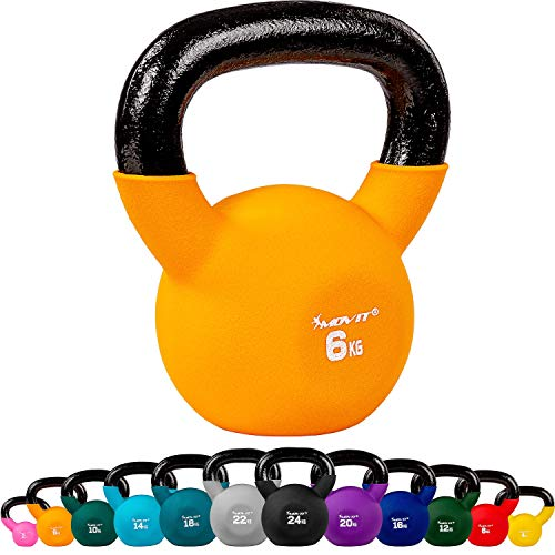 Movit Kettlebell 6 kg ball weight neoprene cast iron orange