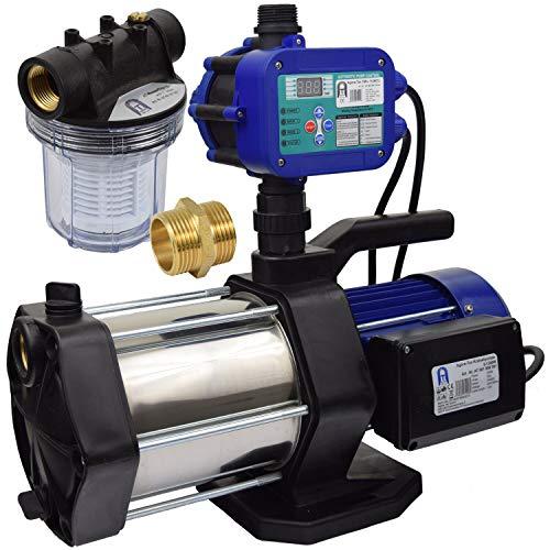 Agora-Tec® Hauswasserautomat Hauswasserwerk 5-1300-15DW-1L mit Druckschalter/Durchflusswächter/Pumpensteuerung Ausschaltdruck einstellbar und Vorfilter leise