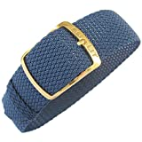 Eulit Kristall 18mm Blue Perlon Gold Buckle Watch Strap