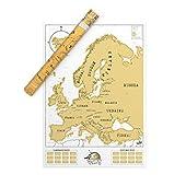 Mapa de Europa - Mapa para rascar Con folio de recubrimiento para rascar Para rascar les países que haya visitado sobre su mapa del mundo personalizado Presentado en un bonito tubo Fabricado en el R.U