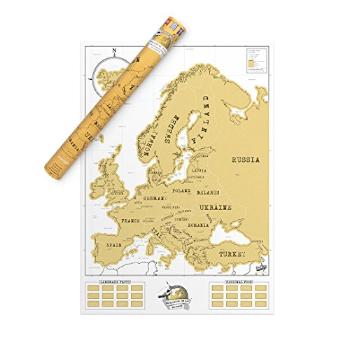 Europe Scratch Off Travel Map – Compact Personalized Scratch Map – Beautiful Scratch Poster – Amazing Map Décor – The Perfect Travel Gift – White & Gold