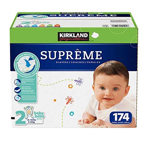Kirkland Signature Pañales superabsorbentes, indicador de humedad, tamaño 2 (12-18 libras) – 174 unidades