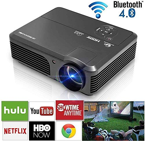 Wifi Bluetooth LED Home Projector HDMI Wireless Android Smart LCD Video Projector WXGA Support Full HD 1080P 4600 Lumens Home Theater Movie Gaming Outdoor Entertainment Proyector with Built-in Speaker