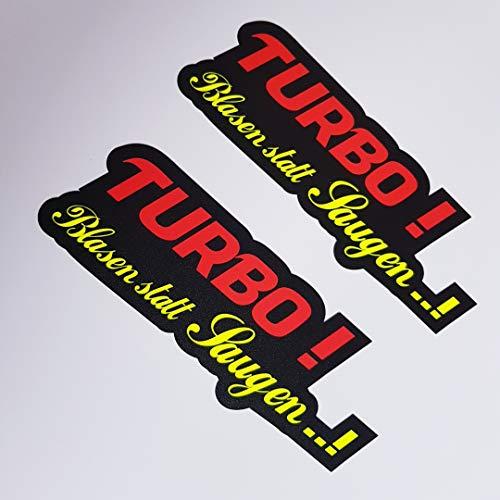 folien-zentrum 2X Turbo Blasen statt Saugen Neon Gelb Schwarz Aufkleber Shocker Hand Auto JDM Tuning OEM Dub Decal Stickerbomb Bombing Sticker Illest Dapper Fun Oldschool