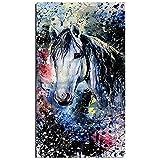 Kits de Pintura de Diamantes 5D DIY para Adultos caballo acuarela Diamond Painting Square Cristal Diamante Bordado Punto de Cruz lienzo Artesanías Mosaico Home Wall Decoración Gifts(60x120cm,24x48in)