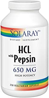 High Potency HCl with Pepsin Solaray 250 Caps