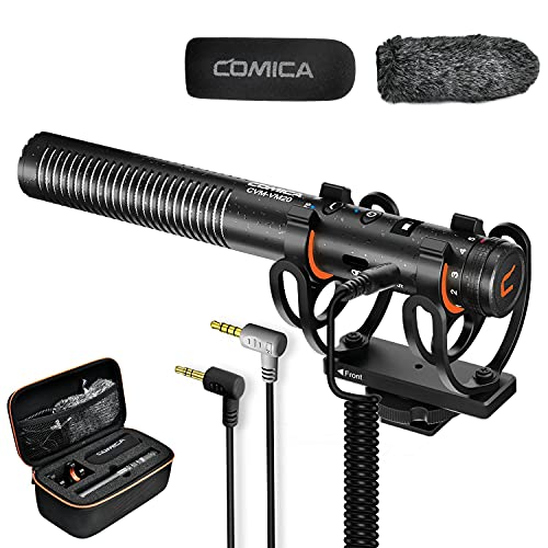 Kamera Mikrofon Comica CVM-VM20 Kondensator Schrotflinten Mikrofon für Canon Sony Nikon DSLR-Kamera/Camcorder/iPhone Externes Video Mikrofon mit Stoßdämpferhalterung Compact auf Kamera Mikrofon