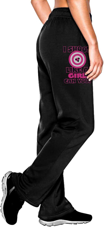 HRiu3Y6 Fitness Leggings for Womens, Ultra Soft I Shoot Like A Girl Cotton Sweatpants