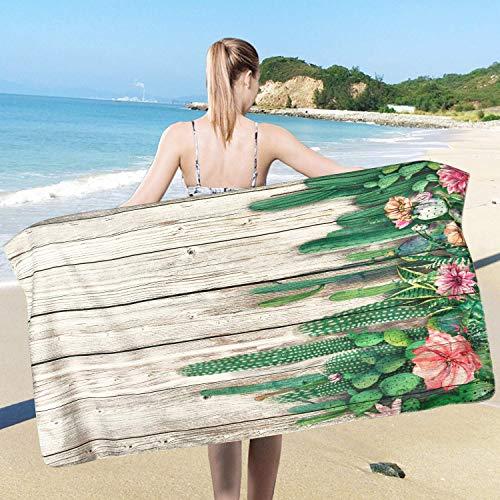 Toalla de playa de flores de cactus, toalla de playa de plantas suculentas de cactus tropical, manta de playa de madera absorbente de agua, toalla de camping, toalla de gimnasio, toalla de piscina
