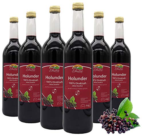BLEICHHOF® [6er Pack] Holundersaft - 100% leckerer Direktsaft - Frische Früchte - ohne Zuckerzusatz und Zusatzstoffe - Nachhaltig hergestellt im Familienbetrieb in Meckenheim
