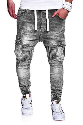 MT Styles Biker Jogg-Jeans Hose RJ-2271 [Grau, W32]