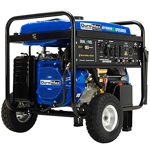 Dual Fuel Portable Generator-8500 Watt Gas or Propane Powered-Electric Start-Camping & RV Ready, 50 State Approved, Blue - DuroMax XP8500EH