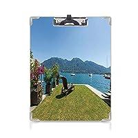 クリップボード A4 旅行の装飾 かわいい画板 山の海の海の風景 A4 タテ型 クリップファイル ワードパッド ファイルバインダー 携帯便利緑の空の青と白の屋外テラスのテラスの花
